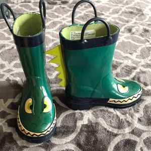 GUC Dino Rain Boots Cat & Jack Size Toddler  7/8